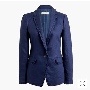 J. Crew navy blazer with ruffle trim